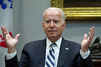 United States President Joe Biden speaks during a meeting with a group of bipartisan governors and mayors in the Roosevelt Room of the White House in Washington, D.C., U.S., on Wednesday, July 14, 2021. Biden made his case for his sweeping social and infrastructure agenda to Senate Democrats today, a day after key members of their caucus reached agreement on a crucial step forward for the plan. Photographer: Tom Brenner/Bloomberg<br /> CAP/MPI/RS<br /> ©RS/MPI/Capital Pictures<br /> CAP/MPI/RS<br /> ©RS/MPI/Capital Pictures