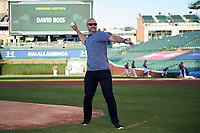 Former Chicago Cubs catcher David Ross throws out the ceremonial first pitch during the Under Armour All-American Game presented by Baseball Factory on July 29, 2017 at Wrigley Field in Chicago, Illinois.  (Mike Janes/Four Seam Images)