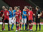 Dave Mackay Testimonial: St Johnstone v Dundee…06.10.17…  McDiarmid Park… <br />Dave Mackay is congratulated at full time by both sets of players<br />Picture by Graeme Hart. <br />Copyright Perthshire Picture Agency<br />Tel: 01738 623350  Mobile: 07990 594431