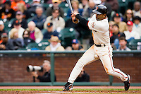 19 April 2007: Giants' Dave Roberts is being hit by a foul ball during the San Francisco Giants 6-2 victory over the St. Louis Cardinals at the AT&T stadium in San Francisco, CA.