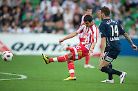 MELBOURNE, AUSTRALIA - DECEMBER 11: Aziz Behich of the Heart kicks for goal during the round 18 A-League match between the Melbourne Heart and Melbourne Victory at AAMI Park on December 11, 2010 in Melbourne, Australia. (Photo by Sydney Low / Asterisk Images)