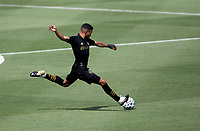 LOS ANGELES, CA - AUGUST 22: Eddie Segura #4 of LAFC sends a ball downfield during a game between Los Angeles Galaxy and Los Angeles FC at Banc of California Stadium on August 22, 2020 in Los Angeles, California.