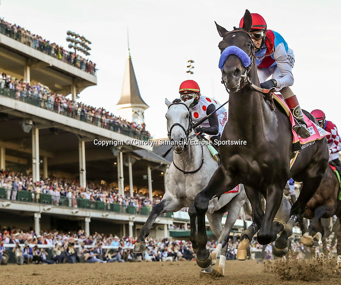 May 1, 2021 : Medina Spirit, trained by trainer Bob Baffert, with jockey John Velazquez up,  wins the 147th running of the Kentucky Derby at Churchill Downs on May 1, 2021 in Louisville, Kentucky. /Carolyn Simancik/Eclipse Sportswire/CSM