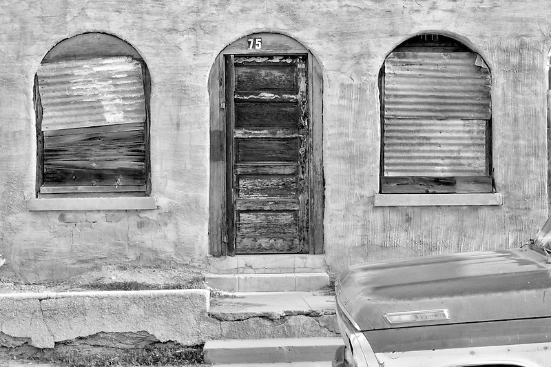 Old house front with truck. Tucson. Arizona
