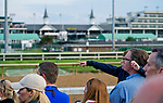 LOUISVILLE, KY - MAY 02: A young fan watches morning workouts at Churchill Downs on May 2, 2018 in Louisville, Kentucky. (Photo by Scott Serio/Eclipse Sportswire/Getty Images)