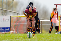Louis GRIMOLDBY (10) of Ampthill during the Greene King IPA Championship match between Ampthill RUFC and Jersey Reds at Dillingham Park, Ampthill, England on 1 May 2021. Photo by David Horn.