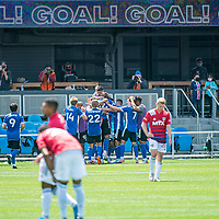 SAN JOSE, CA - APRIL 24: San Jose Earthquakes players celebrate a goal during a game between FC Dallas and San Jose Earthquakes at PayPal Park on April 24, 2021 in San Jose, California.