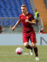 Calcio, Serie A: Lazio vs Roma. Roma, stadio Olimpico, 3 aprile 2016.<br /> Roma's Lucas Digne in action during the Italian Serie A football match between Lazio and Roma at Rome's Olympic stadium, 3 April 2016.<br /> UPDATE IMAGES PRESS/Riccardo De Luca