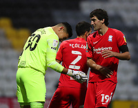 31st October 2020; Deepdale Stadium, Preston, Lancashire, England; English Football League Championship Football, Preston North End versus Birmingham City; Mikel San Jose of Birmingham City congratulates his goalkeeper Neil Etheridge after he made a brilliant save