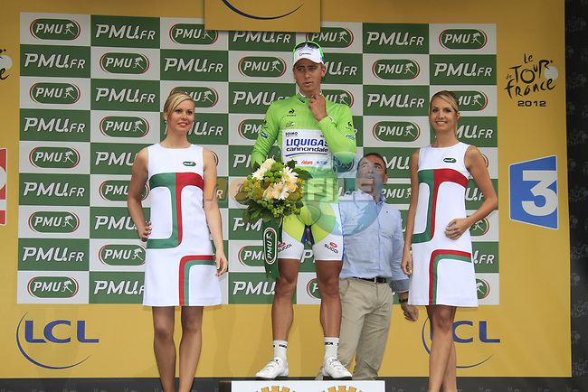 Peter Sagan (SVK) Liquigas Cannondale takes over the Green Jersey at the end of Stage 2 of the 99th edition of the Tour de France 2012, running 207.5km from Vise to Tournai, Belgium. 2nd July 2012.<br /> (Photo by Eoin Clarke/NEWSFILE)