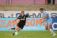 Kelley O'Hara (7) of FC Gold Pride is marked by Brittany Taylor (14) of Sky Blue FC. Sky Blue FC and FC Gold Pride played to a 1-1 tie during a Women's Professional Soccer (WPS) match at Yurcak Field in Piscataway, NJ, on September 01, 2010.