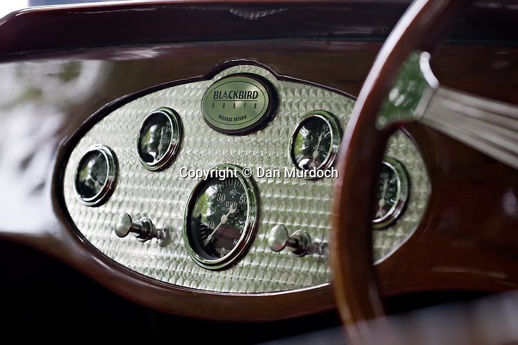 Dashboard of classic wood speedboat