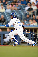 Tulsa Drillers outfielder Delta Cleary Jr. (24) at bat during a game against the Midland RockHounds on May 30, 2014 at ONEOK Field in Tulsa, Oklahoma.  Tulsa defeated Midland 7-1.  (Mike Janes/Four Seam Images)