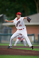 Auburn Doubledays pitcher Carlos Romero (36) during a NY-Penn League game against the Connecticut Tigers on July 12, 2019 at Falcon Park in Auburn, New York.  Auburn defeated Connecticut 7-5.  (Mike Janes/Four Seam Images)