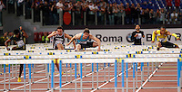 Golden Gala di atletica leggera allo stadio Olimpico di Roma, 6 giugno 2013.<br /> Russia's Sergey Shubenkov, center, clears a hurdle on his way to win the men's 110 meters hurdles race at the Golden Gala IAAF athletics meeting at Rome's Olympic stadium, 6 June 2013.<br /> UPDATE IMAGES PRESS/Isabella Bonotto