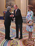 King Juan Carlos and Queen Sofia presided hearing to Atletico de Madrid C.F. at La Zarzuela Palace on september 17th 2012. Enrique Cerezo, Atletico de Madrid president...Photo: POOL / Miguel Cordoba / ALFAQUI