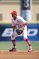 April 15, 2009:  Second Baseman Colt Sedbrook (22) of the Palm Beach Cardinals, Florida State League Class-A affiliate of the St. Louis Cardinals, during a game at Roger Dean Stadium in Jupiter, FL.  Photo by:  Mike Janes/Four Seam Images