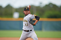 GCL Pirates pitcher Yandy Vega (57) during a Gulf Coast League game against the GCL Rays on August 7, 2019 at Charlotte Sports Park in Port Charlotte, Florida.  GCL Rays defeated the GCL Pirates 5-3 in the second game of a doubleheader.  (Mike Janes/Four Seam Images)