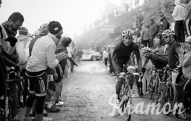 Fabio Sylvestre (POR/Trek Factory Racing) up the dirt roads of the Colle delle Finestre (2178m)<br /> <br /> Giro d'Italia 2015<br /> stage 20: Saint Vincent - Sestriere (199km)