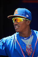 St. Lucie Mets center fielder Champ Stuart (2) before a game against the Brevard County Manatees on April 17, 2016 at Tradition Field in Port St. Lucie, Florida.  Brevard County defeated St. Lucie 13-0.  (Mike Janes/Four Seam Images)