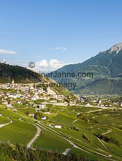 Switzerland, Canton Valais, Leuk: with Bishop's Castle, winegrowing at Rhone-Valley | Schweiz, Kanton Wallis, Leuk: am Nordhang des Rhonetals mit dem Bischofsschloss Leuk,  Weinanbau im Rhonetal