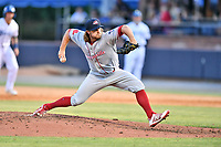 Greenville Drive pitcher Dylan Spacke (39) delivers a pitch during a game against the Asheville Tourists on May 21, 2021 at McCormick Field in Asheville, NC. (Tony Farlow/Four Seam Images)