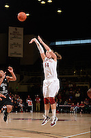 STANFORD, CA - NOVEMBER 26: Kayla Pedersen of Stanford women's basketball shoots from beyond the 3-point line in a game against South Carolina on November 26, 2010 at Maples Pavilion in Stanford, California.  Stanford topped South Carolina, 70-32.