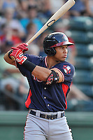 First baseman Carlos Castro (51) of the Rome Braves bats in a game against the Greenville Drive on Tuesday, August 30, 2016, at Fluor Field at the West End in Greenville, South Carolina. Greenville won, 7-3. (Tom Priddy/Four Seam Images)