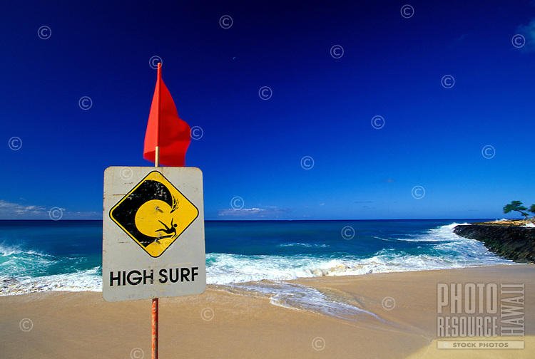 High surf warning Hapuna beach on the Big island