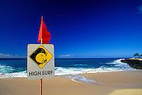 High surf warning Hapuna beach on the Big island