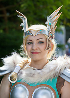 Valkyrie Mercy from Overwatch Cosplay, Pax West Seattle, Washington, USA.