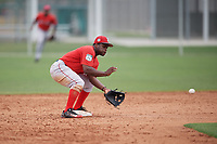 Boston Red Sox second baseman Josh Tobias (11) fields a throw during a minor league Spring Training intrasquad game on March 31, 2017 at JetBlue Park in Fort Myers, Florida. (Mike Janes/Four Seam Images)
