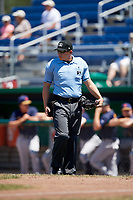 Umpire Jordan Sandberg during a game between the State College Spikes and Batavia Muckdogs on July 8, 2018 at Dwyer Stadium in Batavia, New York.  Batavia defeated State College 8-3.  (Mike Janes/Four Seam Images)
