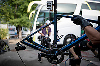 European Champion Matteo Trentin (ITA/Mitchelton-Scott) wins stage 17, the 4th stage win by his Mitchelton-Scott team & is celebrated as he returns to the team hotel<br /> <br /> Stage 17: Pont du Gard to Gap(206km)<br /> 106th Tour de France 2019 (2.UWT)<br /> <br /> ©kramon