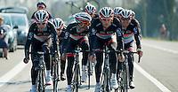 Dwars door Vlaanderen 2012.RadioshackNissanTrek Team on course-recon during Dwars Door Vlaanderen: Fabian Cancellara having fun trying to hide from me (he succeeded well)