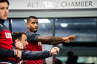 Luciano Narsingh  9 ( right ) works out in the gym during the Swansea City training session at The Fairwood training Ground, Swansea, Wales, UK. Wednesday 13 September 2017