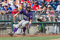 TCU Horned Frogs catcher Evan Skoug (9) is stopped at third base against the Texas Tech Red Raiders in Game 3 of the NCAA College World Series on June 19, 2016 at TD Ameritrade Park in Omaha, Nebraska. TCU defeated Texas Tech 5-3. (Andrew Woolley/Four Seam Images)