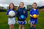 Enjoying their return to Ballymac GAA juvenile training on Sunday morning, l to r: Ciara Leen, Megan Lyons and Darragh Curran.