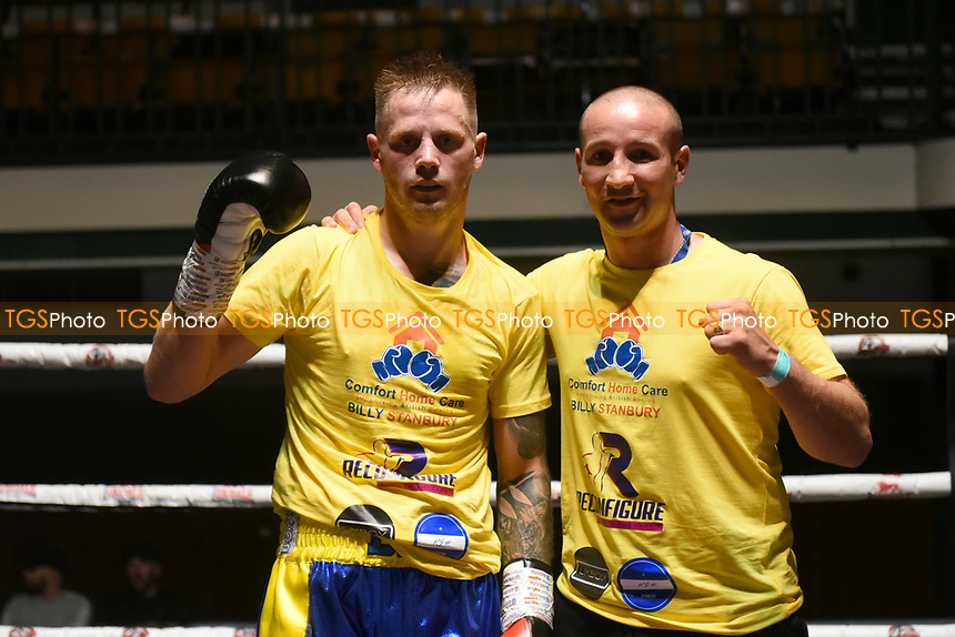 Billy Stanbury (blue shorts) defeats Robbie Chapman during a Boxing Show at York Hall on 11th September 2021