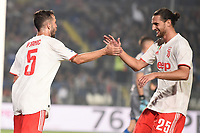 Miralem Pjanic of Juventus celebrates with Adrien Rabiot  after scoring the goal of 1-2 <br /> Brescia 24-09-2019 Stadio Rigamonti<br /> Football Serie A 2019/2020 Brescia - Juventus  <br /> Photo Matteo Gribaudi / Image Sport / Insidefoto