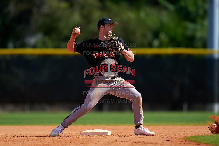 Omaha Mavericks second baseman Masen Prososki (6) throws to first base during a game against the Dartmouth Big Green on February 23, 2020 at North Charlotte Regional Park in Port Charlotte, Florida.  Dartmouth defeated Omaha 8-1.  (Mike Janes/Four Seam Images)