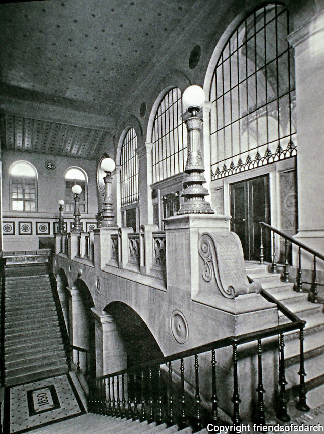 Bibliotheque Sainte-Genevieve, stairwell. Architect Henri Labrouste.