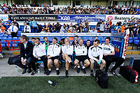 (L-R) Manager Graham Potter, Billy Reid, assistant manager, Bjorn Hamberg, assistant coach, Alan Curtis, assistant coach, Adrian Tucker, goalkeeping coach, Physiotherapist, Ritson Lloyd and Dr. Jez McCluskey, Club Doctor during the Sky Bet Championship match between Ipswich Town an Swansea City at Portman Road Stadium, Ipswich, England, UK. Monday 22 April 2019