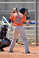 Houston Astros outfielder Ariel Ovando (76) during a minor league spring training game against the Detroit Tigers on March 21, 2014 at Osceola County Complex in Kissimmee, Florida.  (Mike Janes/Four Seam Images)