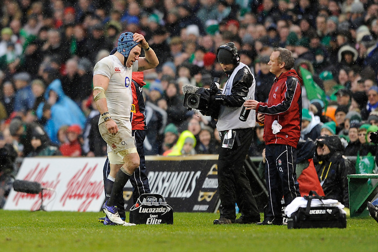 James Haskell of England is sent to the sin bin by referee Jerome Garces during the RBS 6 Nations match between Ireland and England at the Aviva Stadium, Dublin on Sunday 10 February 2013 (Photo by Rob Munro)