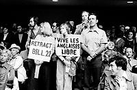 FILE PHOTO - Quebec Premier Robert Bourassa discuss Bill 22 at a public meeting, September 16,1975.<br /> <br /> PHOTO : Alain Renaud - Agence Quebec Presse