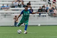 HARTFORD, CT - AUGUST 17: Christian Gomez #8 of Hartford Athletic passes the ball during a game between Charleston Battery and Hartford Athletic at Dillon Stadium on August 17, 2021 in Hartford, Connecticut.