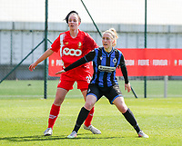 Loredana Humartus (33) of Standard and Celien Guns (10) of Club Brugge pictured during a female soccer game between Standard Femina de Liege and Club Brugge YLA on the 2nd matchday in play off 1 of the 2020 - 2021 season of Belgian Scooore Womens Super League , saturday 17 th of April 2021  in Angleur , Belgium . PHOTO SPORTPIX.BE | SPP | SEVIL OKTEM