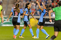 Chicago, IL - Sunday Sept. 04, 2016: Christen Press celebrates scoring during a regular season National Women's Soccer League (NWSL) match between the Chicago Red Stars and Seattle Reign FC at Toyota Park.
