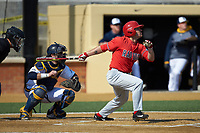 David Laird (2) of the Radford Highlanders follows through on his swing against the Quinnipiac Bobcats at David F. Couch Ballpark on March 4, 2017 in Winston-Salem, North Carolina. The Highlanders defeated the Bobcats 4-0. (Brian Westerholt/Four Seam Images)